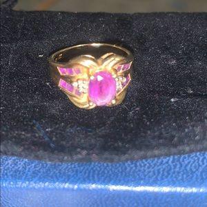 10K Gold Amethyst and Diamond VINTAGE Ring Sz 7